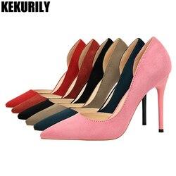 Женская обувь из флока, туфли-лодочки без шнуровки, босоножки на высоком каблуке, модные открытые шлепанцы с острым носком, zapatos mujer, черный, к...