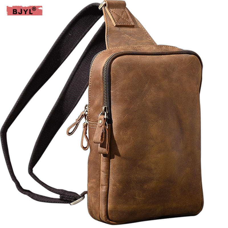 BJYL Men chest bags crazy horse leather double compartment zipper big chest bag tide genuine leather men shoulder Messenger bagBJYL Men chest bags crazy horse leather double compartment zipper big chest bag tide genuine leather men shoulder Messenger bag