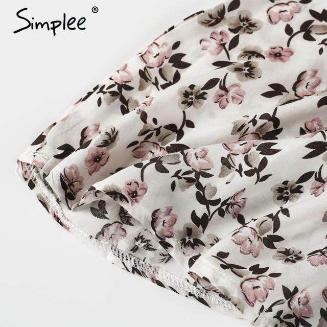 Simplee Sexy floral print summer dress women Casual v neck strap beach dress 2017 High waist short dresses vestidos