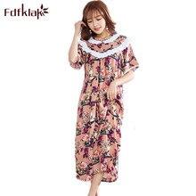 19a3b946d1 Fdfklak 2018 Summer Floral Nighties For Women Cotton Night Wear Sleeping  Dress Nightgown Sleepwear Women Plus