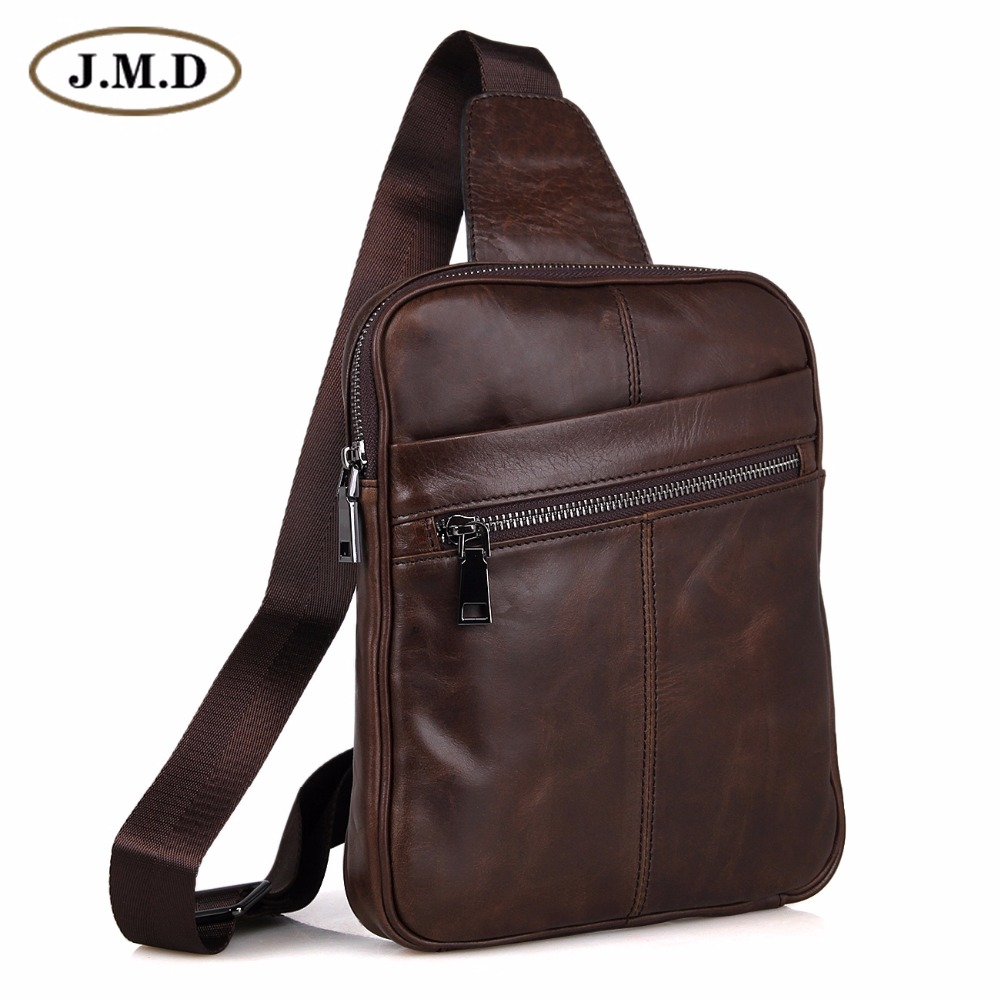 Genuine Cow Leather Men's Cross Body Small Chest Bag Backpack For Man 7217C-1 cow leather man backpack 100