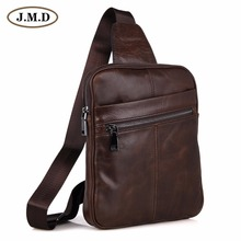 Genuine Cow Leather Mens Cross Body Small Chest Bag Backpack For Man 7217C-1