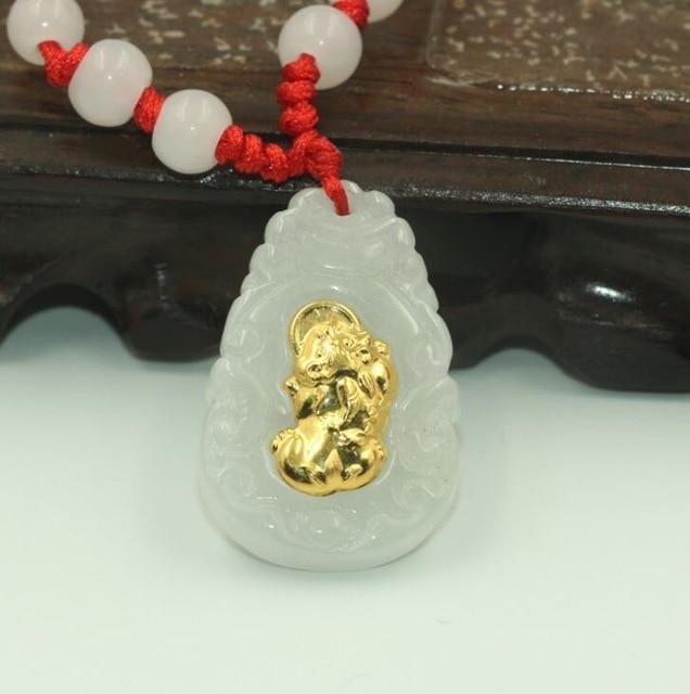 Certificat Super naturel XinJiang jades Carven GuanYu pendentif amulette collier bouddha fronde bijoux cadeau avec boîte