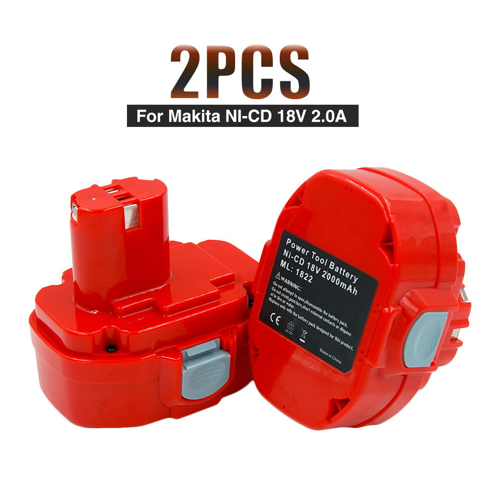 2PCS Ni-CD 18V 2000mAh 2.0Ah Power Tools Rechargeable Drill Battery for Makita Cordless Drill PA18 1822 1823 1833 new 20v rechargeable ni mh 3000 mah for battery power tool embala 1822 1823 1834 1835 192826 5 192827 3 vhk02 t18 0 5
