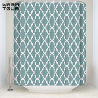 Bath Shower Curtains Modern Green Geometric Lattice Welcome Mildew resistant Bathroom Decor Sets with Hooks 66 x 72