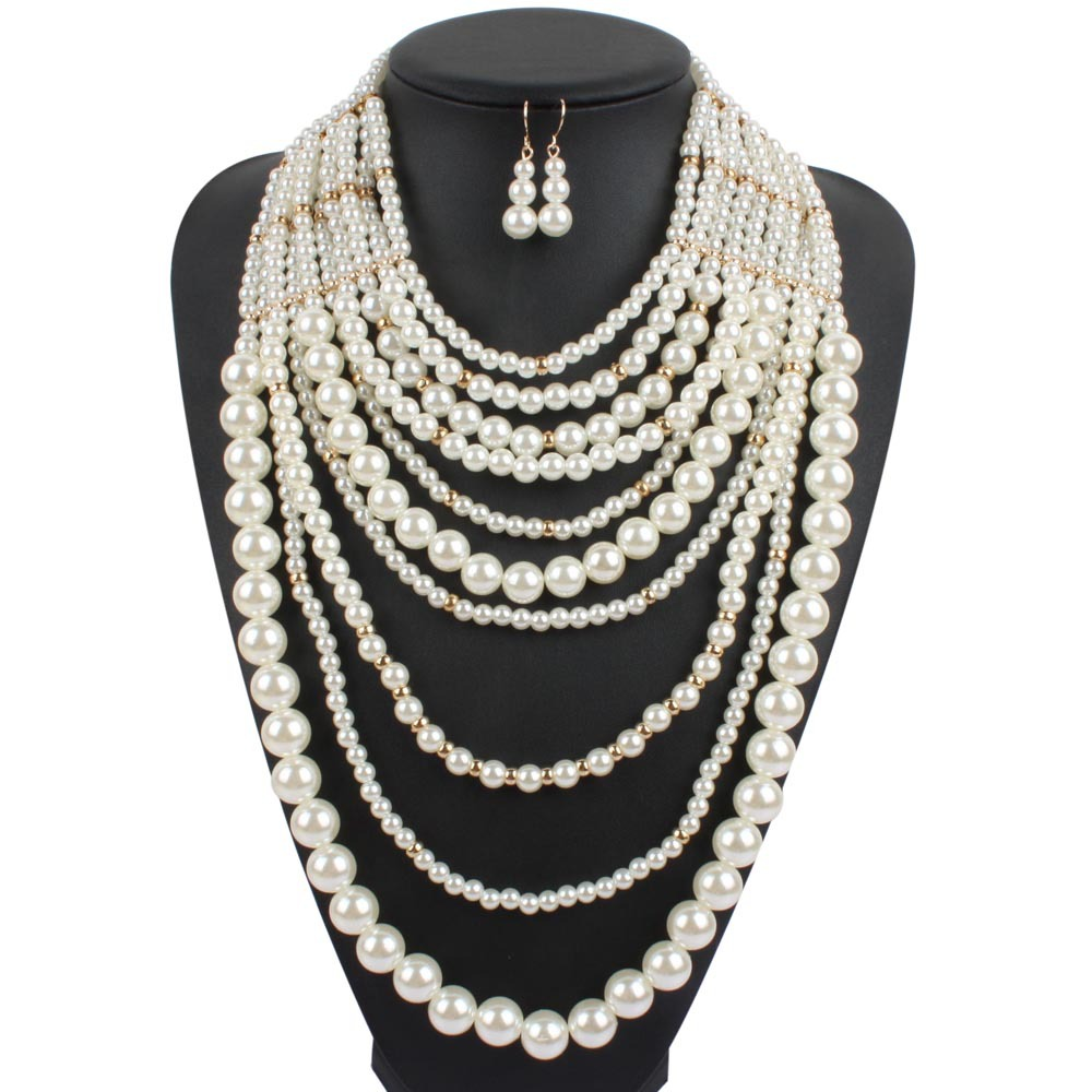 Pearl Necklace Multi Layer Maxi Strand Plastic White Pearl Necklace Long  Women Collar Big Necklace Party