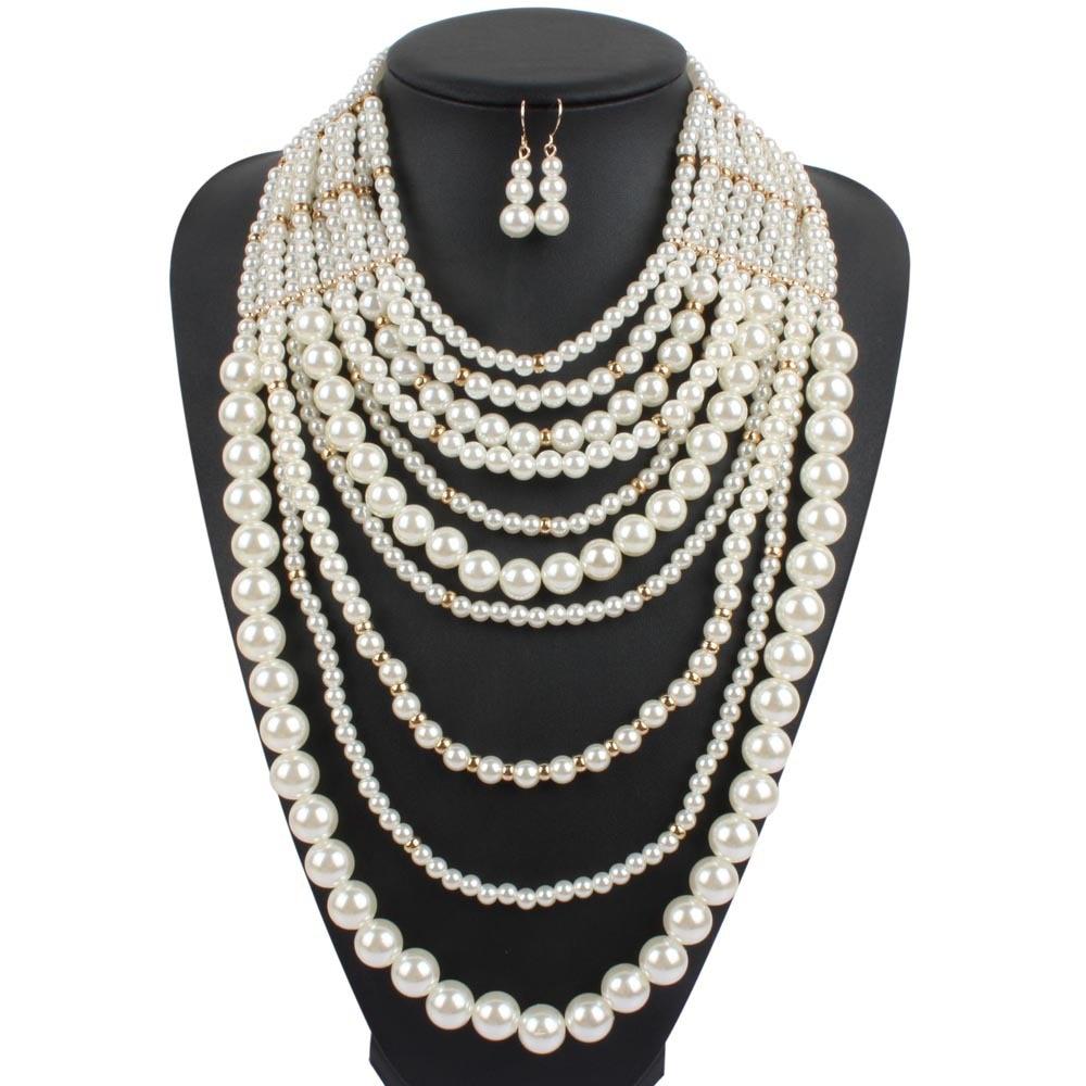 pearl necklace multi layer maxi strand plastic white pearl ...