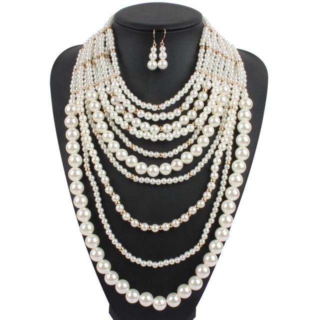 pearl necklace multi layer maxi strand plastic white pearl necklace long women collar  big necklace party bohemian jewelry