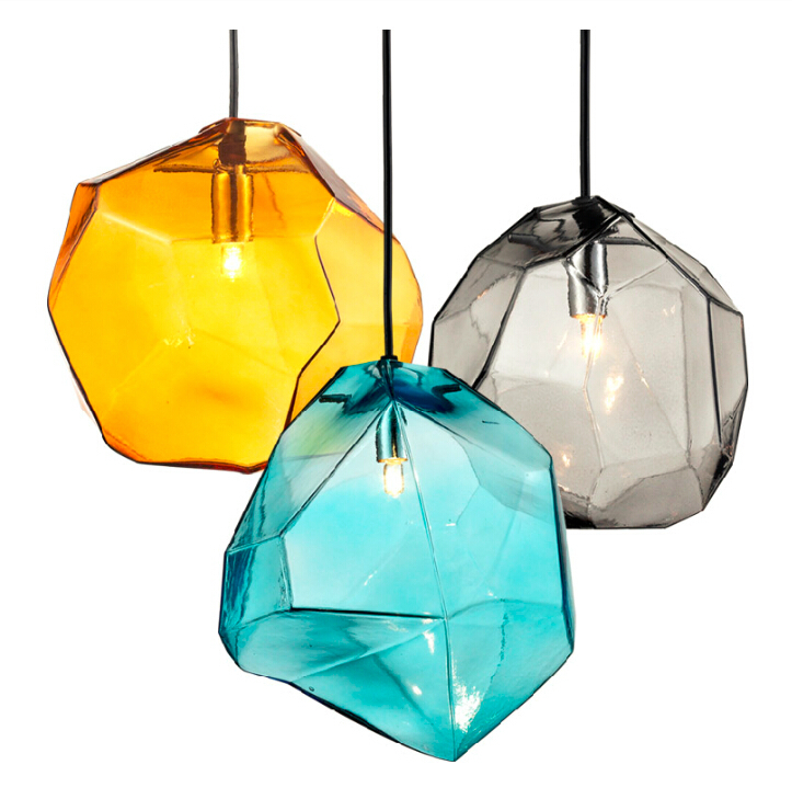 Crystal Gl Lighting Ice Cube Pendant Lamp Polygon Stone Colorful Light Creative Design In Lights From On