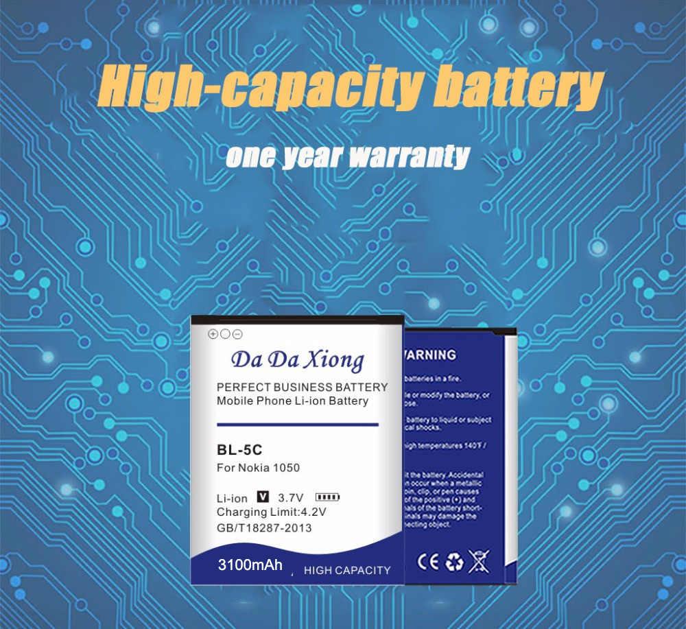 3100mAh BL-5C Li-ion Phone Battery for Nokia C2-06 C2-00 X2-01 1100 6600 6230 5130 2310 3100 6030 3120 3650 6263 Phone Battery