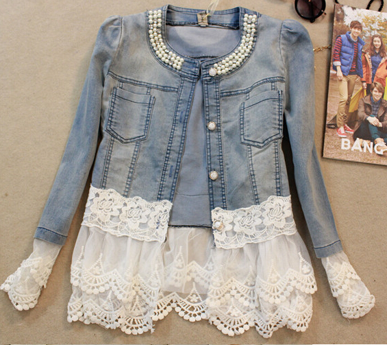 Elegant floral lace denim   jacket   coat women Casual short   basic     jacket   Beading Patchwork Slim jean   jackets   Plus size 3XL
