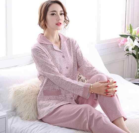 החורף של פיג 'מה גבירותיי nightwear כותנה בתוספת גודל בגדי בית חליפת פיג' מות פיג 'מה ארוך שרוול הדפסה אלגנטית נשים 2XL 3XL