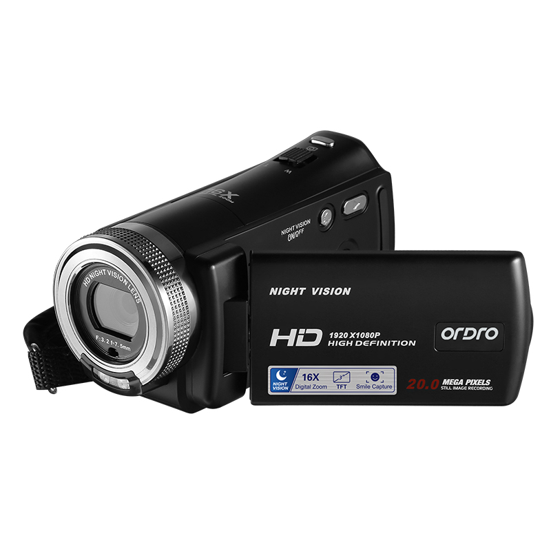 ORDRO HDV-V12 16X Digital Zoom CMOS Sensor 3.0 Inch LCD 1080P HD Recording Video Camera Support Night Vision face beautification 2 lcd screen cmos hd 720p usb digital binocular telescope 96m 1000m zoom telescopio dvr binoculars photo camera video recording