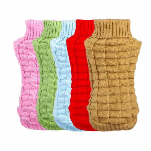 Ropa del invierno del perro cachorro ganchillo suéter tejer ropa ...