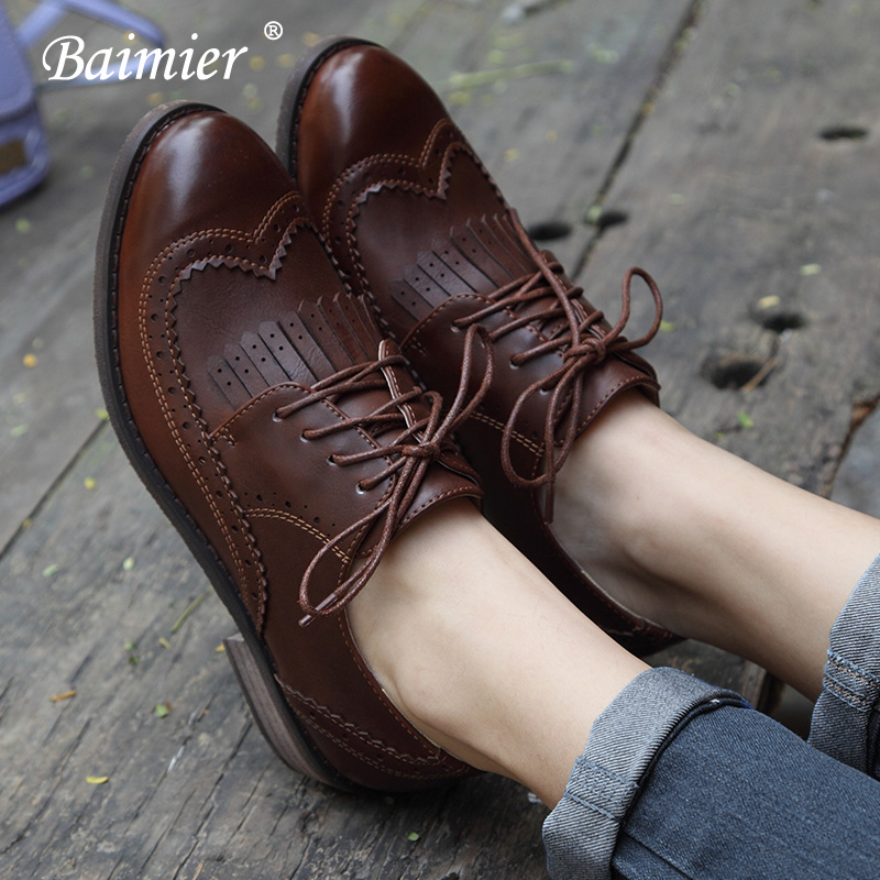 Baimier Vintage British Style Oxford Shoes For Women Round Toe Lace Up Oxfords Women 2018 Autumn Winter Leather Flat Shoes Woman