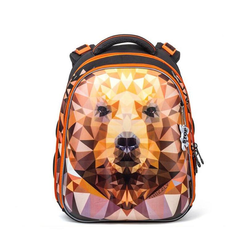 New Fashion Cartoon Dog Lion Owl Pattern School Bags for Boys Waterproof Orthopedic School Backpacks Grade