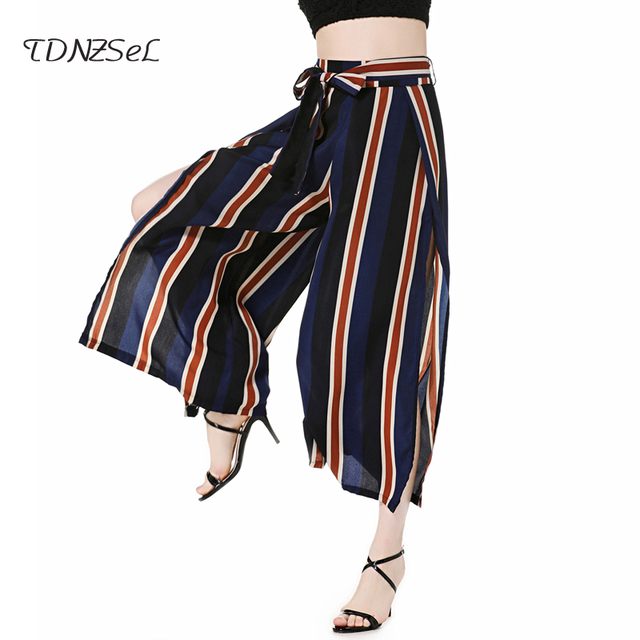 42138ead1c Casual sexy women wide leg pants open slit cut lace up high waist palazzo pants  striped