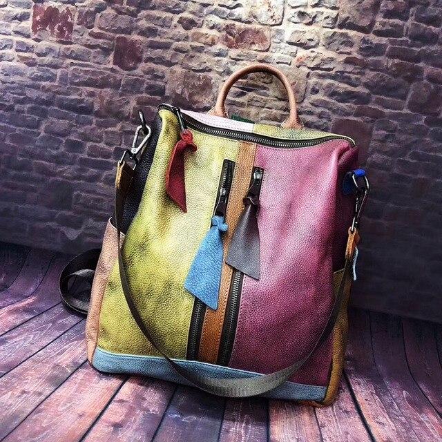 Cowhide Leather Backpack Women Casual High Quality Genuine Leather Retro Knapsack Female Vintage Big Capacity Sling Bag Packsack 2