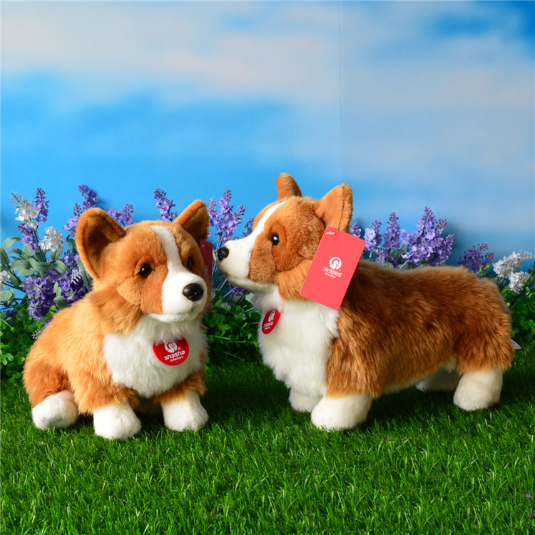 23CM Welsh Corgi Pembroke Plush Toys With Stand Version Cute Puppy Stuffed Toy For Kids Penghantaran Percuma