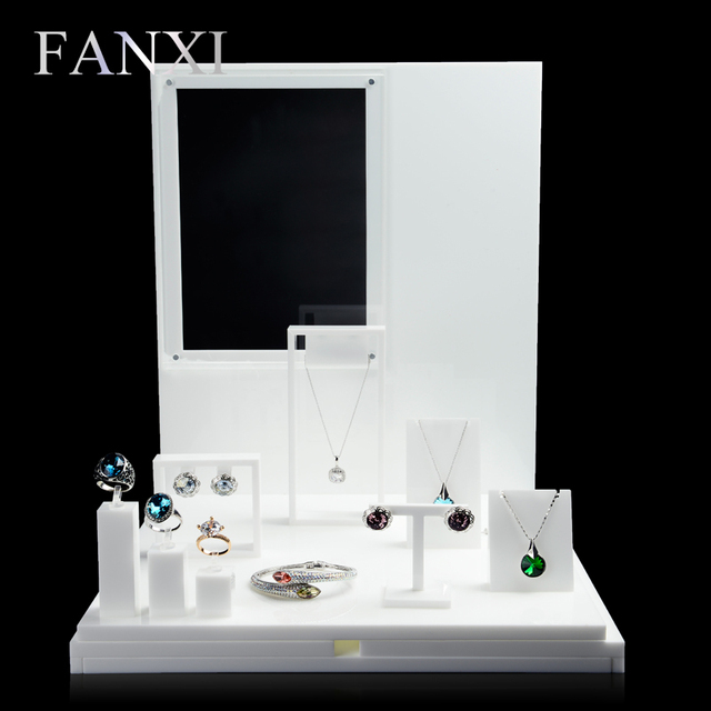 Exhibition Stand White : Fanxi full set acrylic white jewelry display stand jewelry set