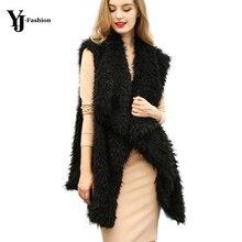 YJ Fashion Turn Down Collar Faux Fur Vest Women Sleeveless Autumn Winter Feather Outwear 2017 Black White Colete Chalecos Mujer