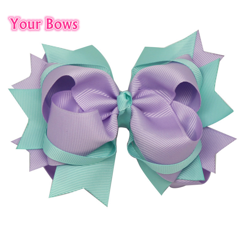 Your Bows 1PC 5.5Inches Hair Bows Hairpin Stacked Light Purple And Aqua Bows Hair Clips Grosgrain Ribbon Bows Hair Accessories usd1 69 pc 5inches big stacked boutique bows with 6cm hair clip hairpin 8 colors solid grosgrain ribbon bows hair accessories