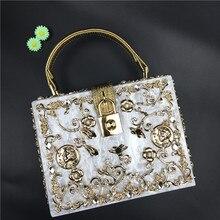 Begrenzte hohe qualität diamant blumen hohl relief Acryl Urne schloss luxus handtasche abendtasche clutch münze für party geldbörse
