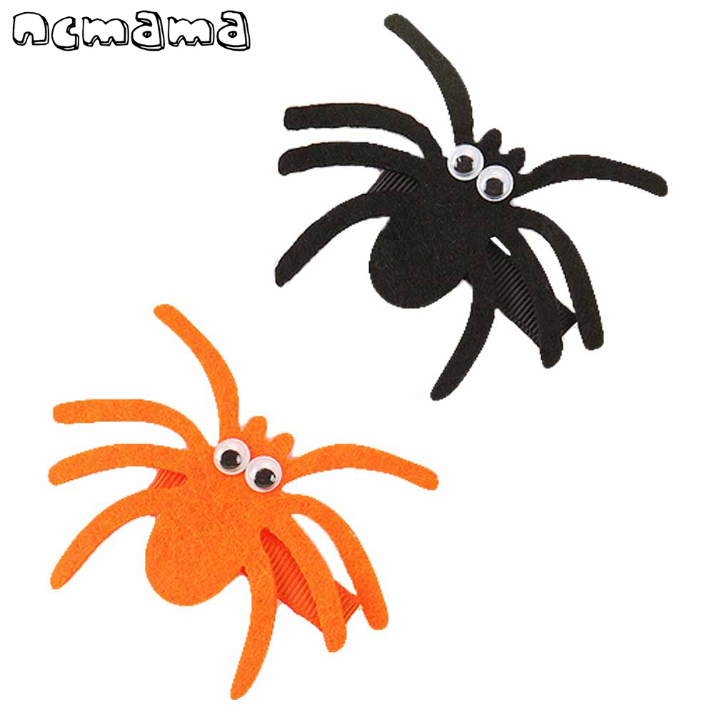 2 Pcs Halloween Funny Hair Clips Felt Spider   Headwear   Handmade Hairpins For Kids Party Hair Accessories