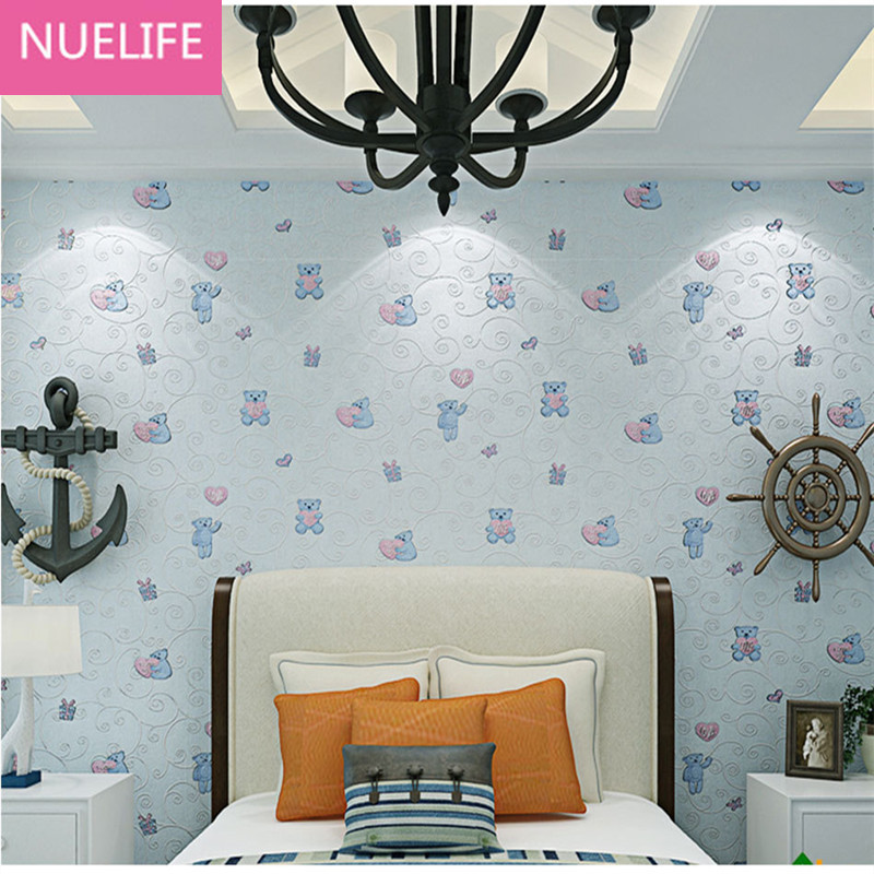 Nice Online Shop 0.53x9.5cm Children Bedroom Wallpaper Boy Girl 3d Bear Pattern  Nonwoven Fabric Wallpaper Living Room Bedroom Wallpaper | Aliexpress Mobile