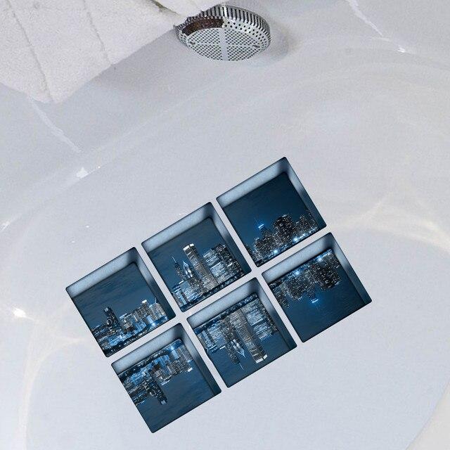 Nuovo 3D Prodotti per il Bagno 6 pz 13x13 cm Vasca Da Bagno sticker 3D Antiscivo