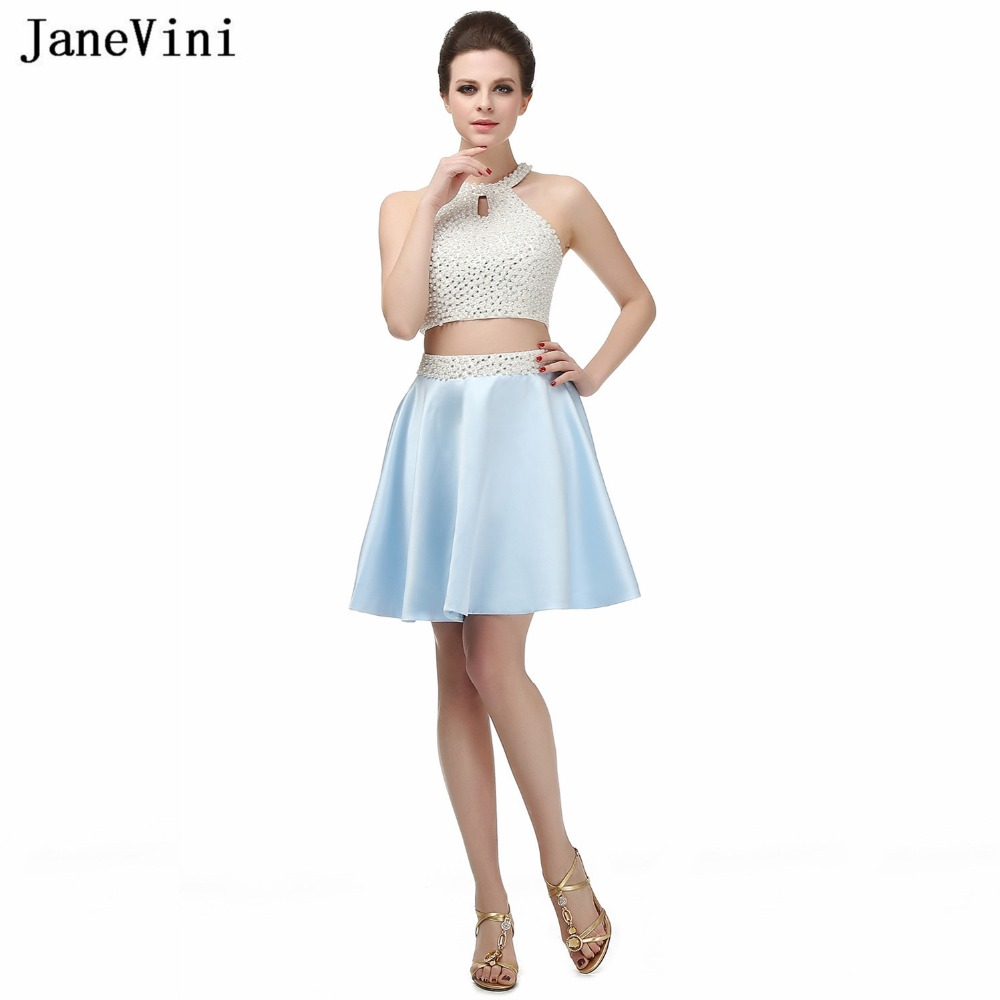 JaneVini Elegant A Line Short Bridesmaid Dresses For Women Satin O-Neck Pearls Backless Plus Size Two Piece Prom Dress Damigelle