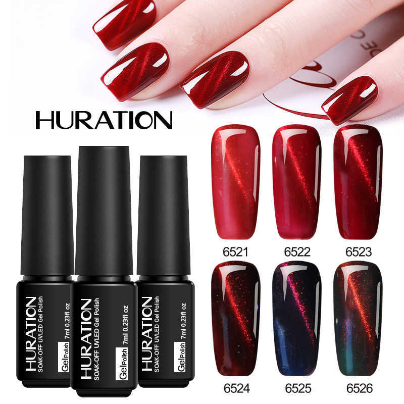 Huration Baru Merah 3D Mata Kucing Api Gel Varnish 6 Warna Magnetik 7 Ml Semi Permanen LED UV rendam Off Lem Kuku Seni Gel Lak