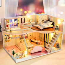 CUTEBEE DIY Doll House Wooden Doll Houses Miniature dollhouse Furniture Kit Toys for children Christmas Gift TD30