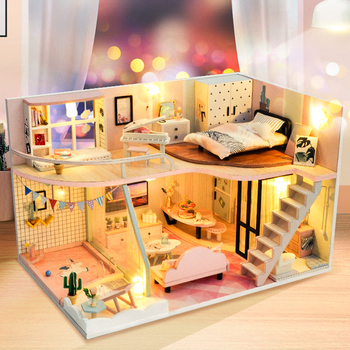 цена на CUTEBEE DIY Doll House Wooden Doll Houses Miniature dollhouse Furniture Kit Toys for children Christmas Gift TD30