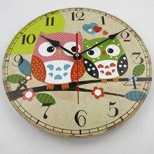 12 Inch MDF Wood Wall Clock Vintage Retro Home Decor Wall Mounted Time Clocks Quartz Mechanism