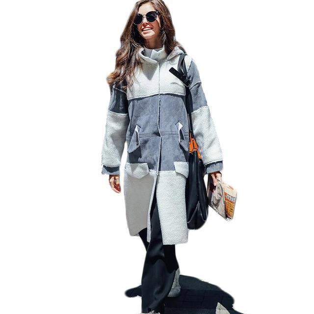 Brand Designers Moffi Women Long Lamb Fur Turn-down Collar Thermal Trench Coats 2016 Winter Wolol Cheap Coats Grey Yellow
