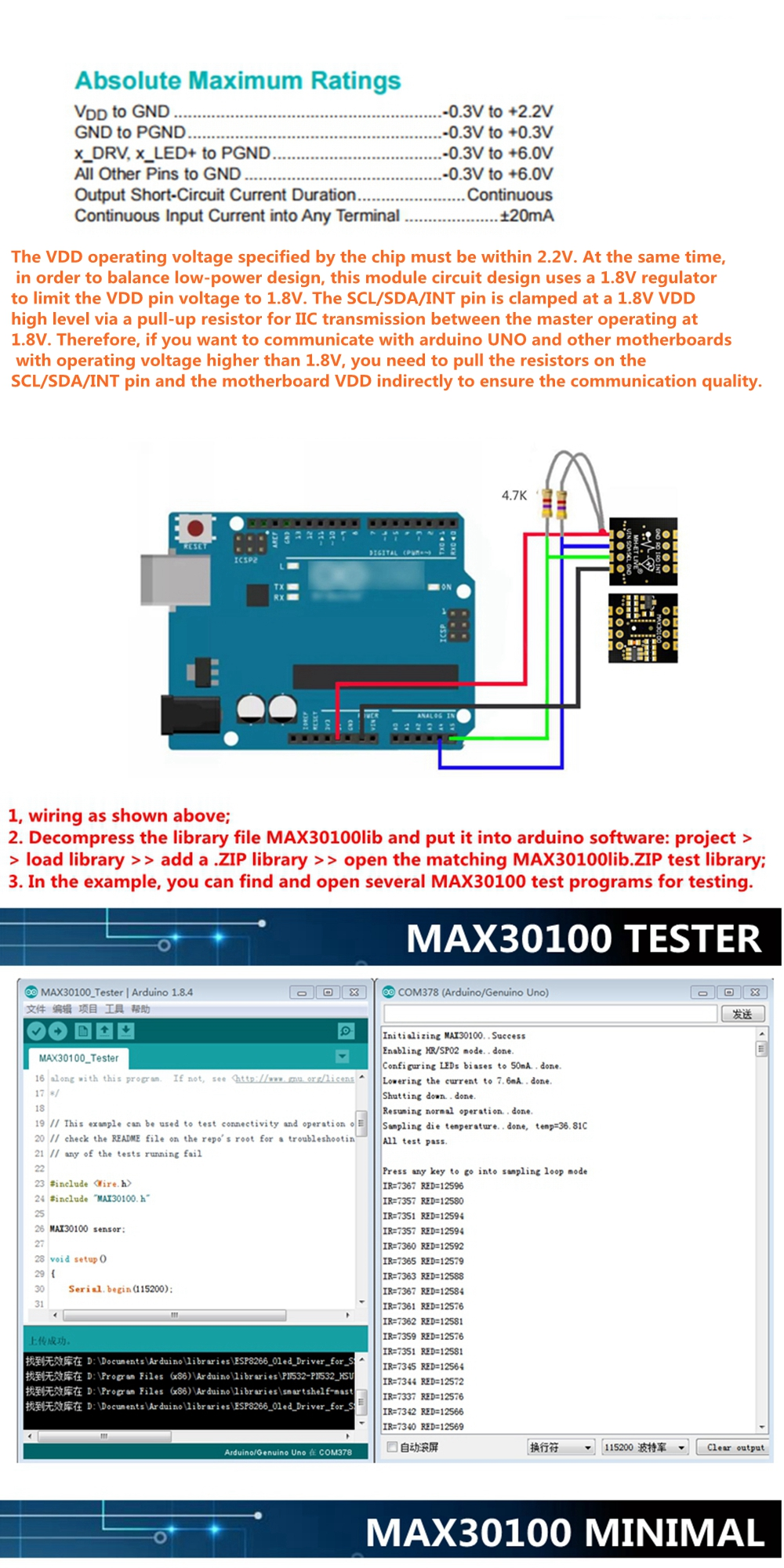 MH ET LIVE MAX30100 Heart Rate Oximetry Sensor Module Heart Rate ...
