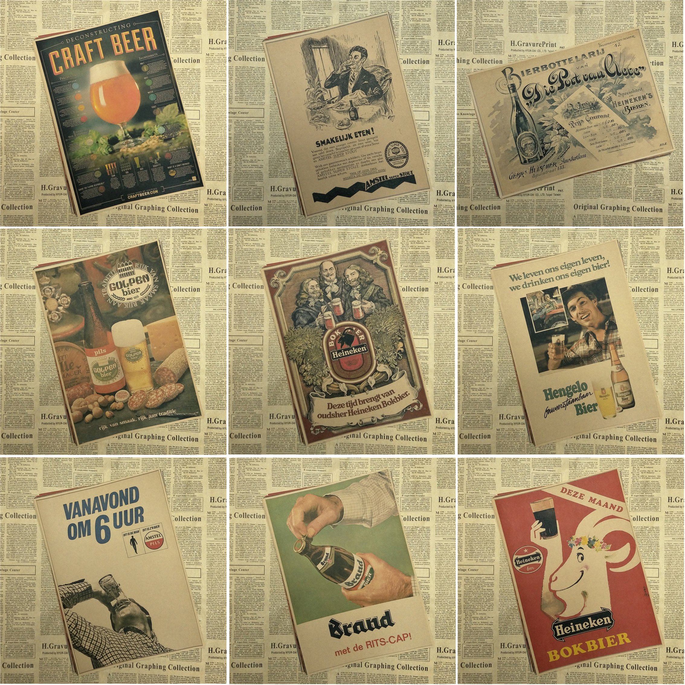 Retro BEER Cheers Vintage Paint Kraft Paper Poster Bar Cafe Living ...