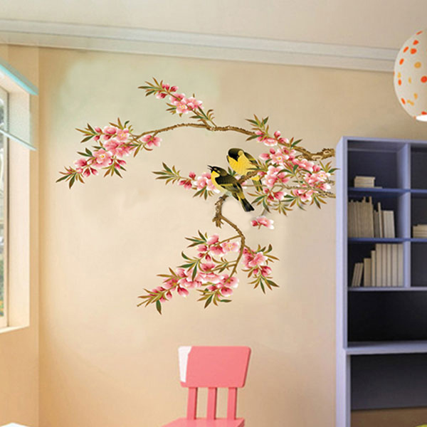 Wall Stickers Kitchen Decor Vinyl Decal Removable Flower Tree Birds Pattern  Hot