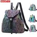 MAGICYZ женский лазерный рюкзак с отражающими вставками школьная голограмма Геометрическая складка школьные сумки для подростков девочек гол...