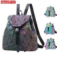 MAGICYZ Women Laser Luminous Backpack School Hologram Geometric Fold Student School Bags For Teenage Girls holographic sac a dos
