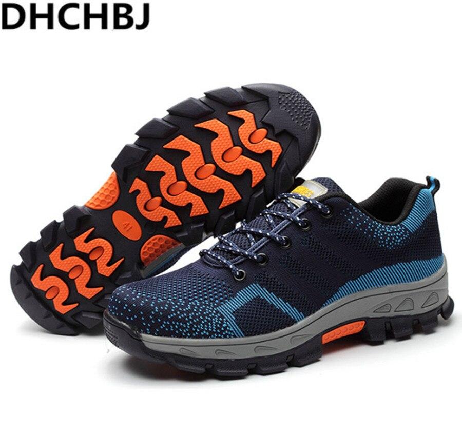 Printemps automne travail chaussures hommes mode maille respirante en acier orteil bottes décontractées assurance du travail hommes chaussure de sécurité