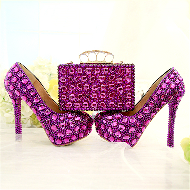 Wedding Pumps Women Shoes and Bags to Matching Crystal Platform Bride Shoe Purple Purse Blue High Heels Genuine Leather Big Size