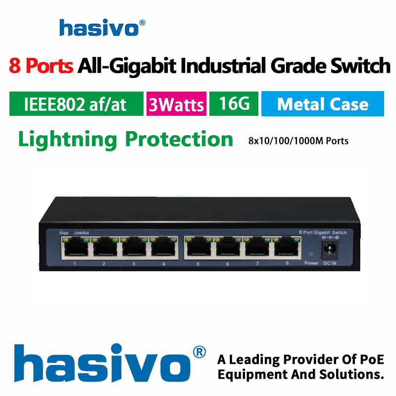8 Port Gigabit RJ 45 Switch Industry Grade   Gigabit Switch