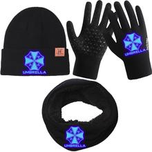 Resident Evil Biohazard Umbrella Corporation Print Scarf Hat Glove Sets Luminous Warm