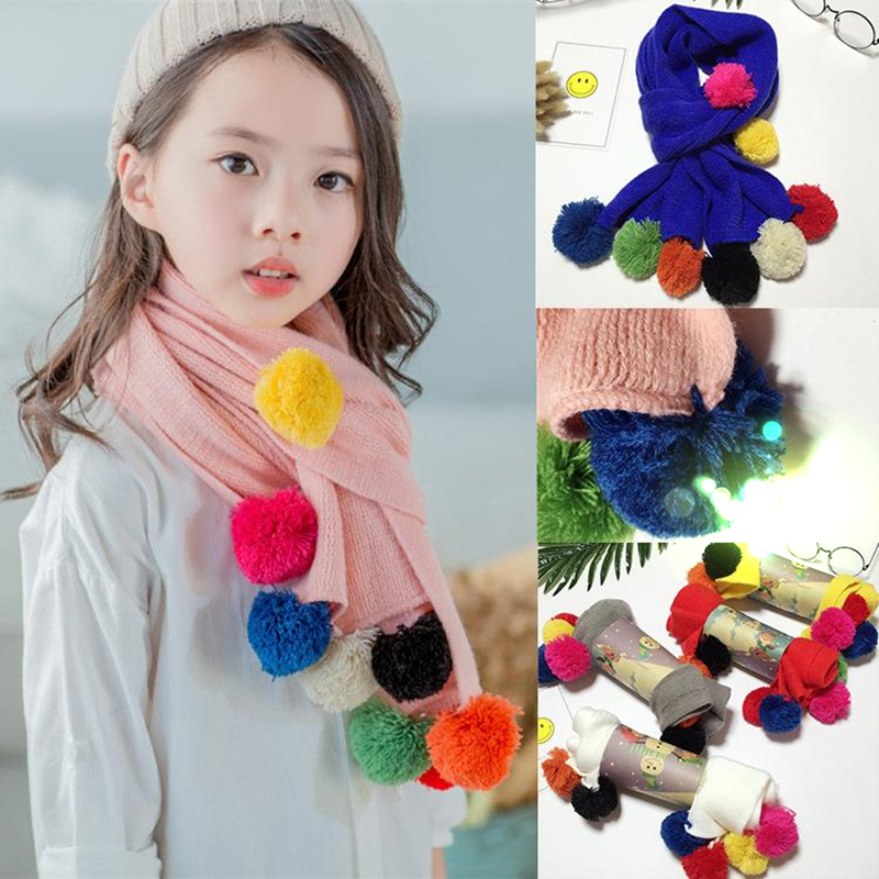 Apparel Accessories Autumn Winter Warm Children Knitted Scarf Handmade Ball Baby Neck Sleeve Candy Color Ball Scarf Kids Scarf
