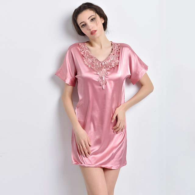 d14a89ca4e Sexy Female Nightgown Free Shipping Lace Satin Silk Sleepwear Nightshirts  Fashion 2016 Summer Style Short Sleeve