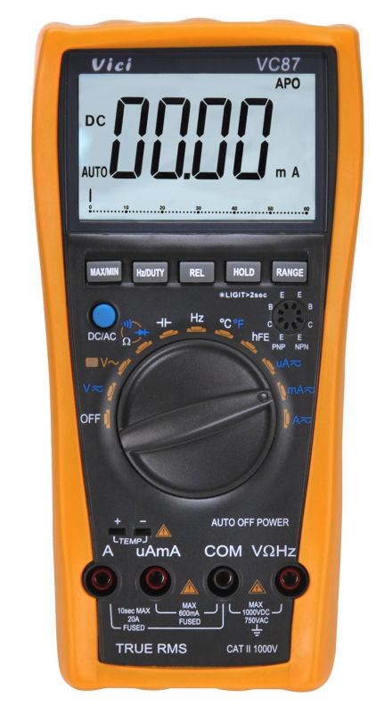 VC87 True RMS Multimeter Digital Multi Meter Analog Tester Thermometer Resistance AC DC Ohm Hz C 6000 Voltmeter Motor Drives