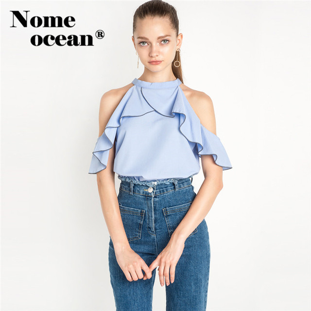 305add74881 Layered Ruffle Halter O-neck Women Shirts Preppy Style Short Sleeve Blouses  Cut Out Off Shoulder Tops of Women Blouse M16100803