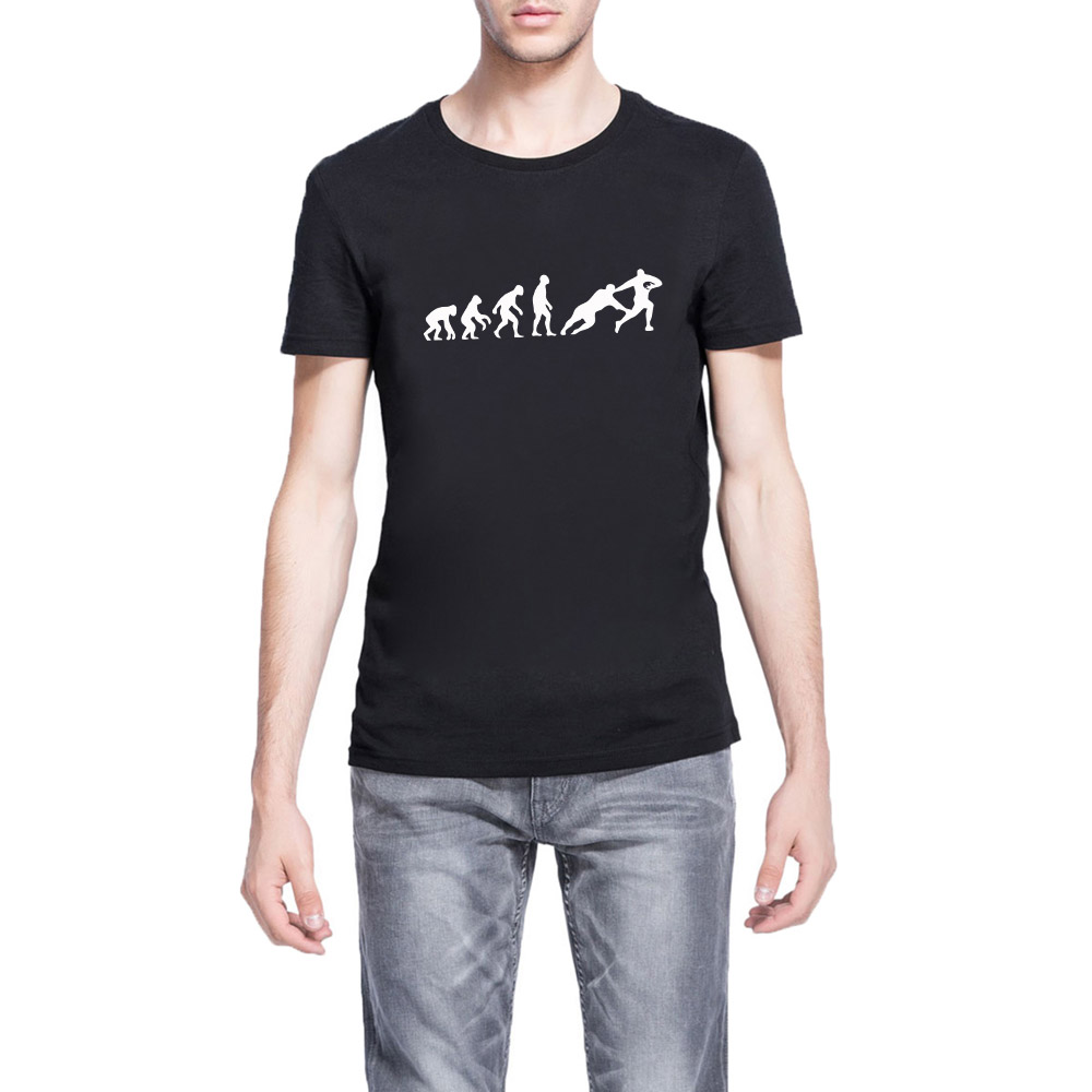 All black t shirt new zealand - Loo Show Mens Evolution Of Rugby Funny Casual T Shirts Men Tee China